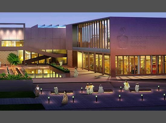 Charity Foundation HQ Port Harcourt Nigeria courtyard night